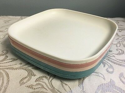 """TUPPERWARE 8"""" Luncheon PLATES Set Square Country Pastel Lunch 1534 VTG Lot 5"""