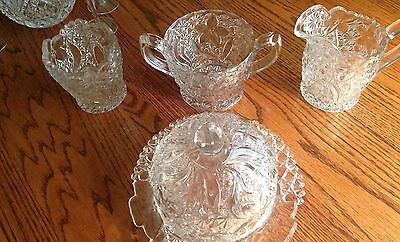 Daisy Dot Pattern 4 Pieces Clear Pressed Glass Domed Butter Sugar Cream Jam