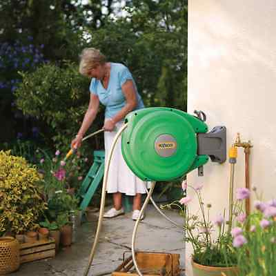 Hozelock Auto Rewind Hose Reel Wall Mounted 10 m Hose Garden Watering Irrigation