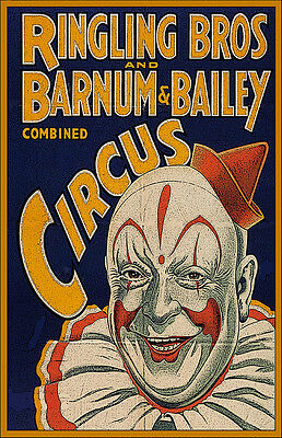 Ringling Brother's Circus Red Hat Clown 11x17 Poster Buy One Get One