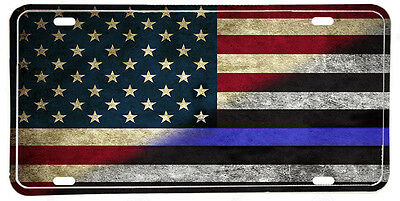 Red White & Thin Blue Line American Law Enforcement Flag Aluminum License plate
