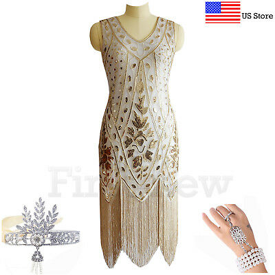 1920s Flapper Dress Great Gatsby Cocktail Arts Deco Sequins Fringe Party Dresses