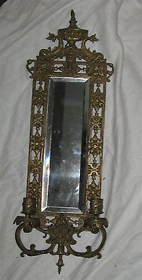 Vintage Ornate Metal Beveled Mirror w/ Candle Sconces, Dolphins or Fish, 23""