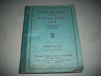 Original Dodge Brothers Truck Master Parts List All Trucks Prior To 1934