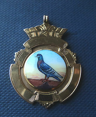 Super 9ct Yellow & Rose Gold Enamel Pigeon Fob Medal Pendant 1934 - not engraved