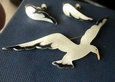 Vintage Sterling Silver & White Enamel Seagull Brooch & Earrings c.1940/50s