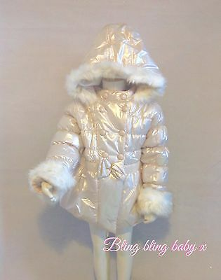 Girls Padded Gold Faux Fur Hooded Coat , Jacket Romany Essex 3-4 Years rrp 39.99