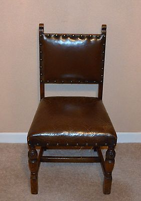 Antique Oak Leather Sprung Dining Chairs Set Of Four