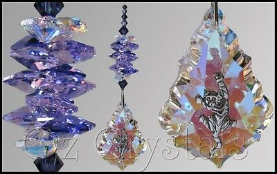 Cat Suncatcher 63mm Crystal AB Starflake & Climbing Kitten, Purple - Gift Box