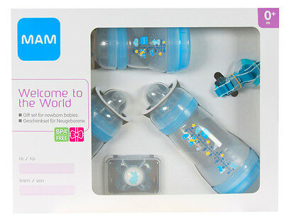 MAM Welcome to the World Set includes Bottles, Soother and Clip (Blue)