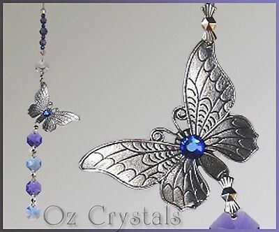 Butterfly Suncatcher Made With Pewter & Swarovski Crystal  Purple & Sapphire