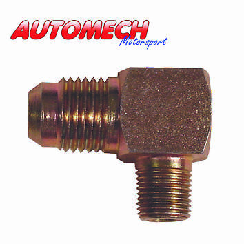 Sytec Plated Steel 90 Degree Fuel Fitting Union 1/8 NPTF, to JIC4 (EA01)