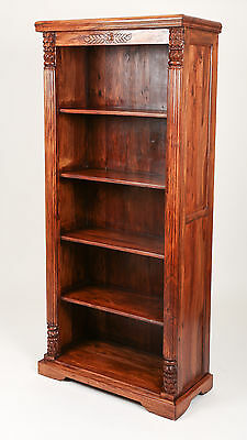 Antique Bookcase Open Carved Book Library Teak Bookshelves Office Furniture Gift