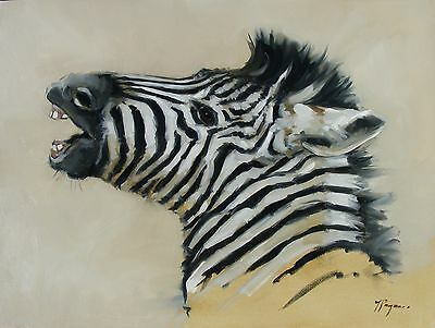 Original Oil painting - wildlife art - realism - zebra   - by j payne