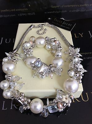 Luxurious Designer Pearl & Diamante Chunky Necklace & Bracelet Set Gift Packag