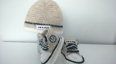 Baby Crochet Trainers And Crochet Hat,beige,handmade Shoes
