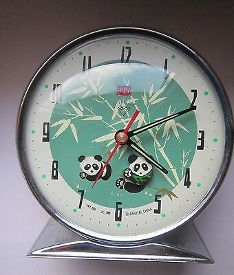 Vintage Rare Shanghai China Animated Moving Panda Bear Mechanical Alarm Clock