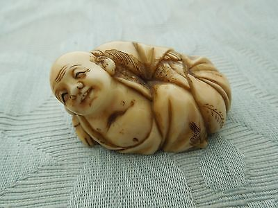 19th Century carved Netsuke of Hotei & sack reclining, great patina, estate find
