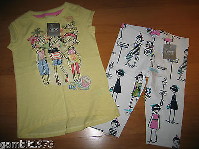 BNWT Girls NEXT Size 3-4 Years(104CM) YELLOW PRINTED CHARACTER GIRL TOP&LEGGINGS