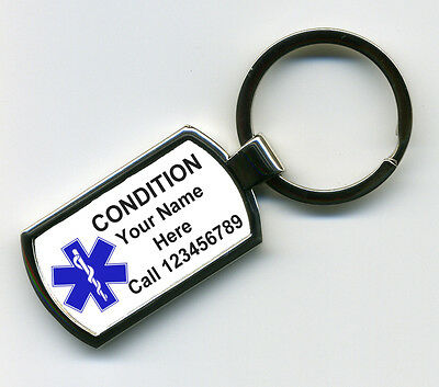 Personalised Medical Alert SOS Condition Nickel Rectangle Shape Metal Keyring.