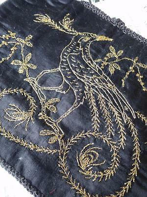 Antique Arts & Crafts Period Black Silk Tea Cosy- Goldwork Hand Embroidery