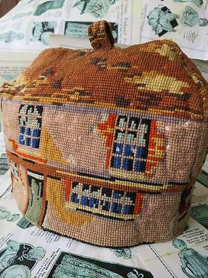 Humorous Antique Victorian Woolwork Tapestry Tea Cosy- Dickens Curiosity Shop