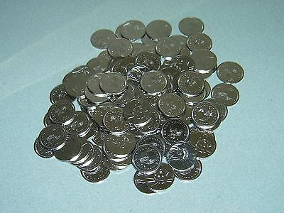 100 Brand New Stainless Half Dollar Size Slot Machine Tokens - 30Pai  30Mm