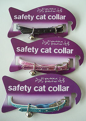 *** Pukka Pets Safety Cat Collar With Bell In Pink, Blue Or Black *** New ***