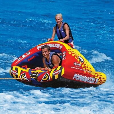Sportsstuff Poparazzi 2 Inflatable Towable Ski Tube (53-1752) Biscuit Boating