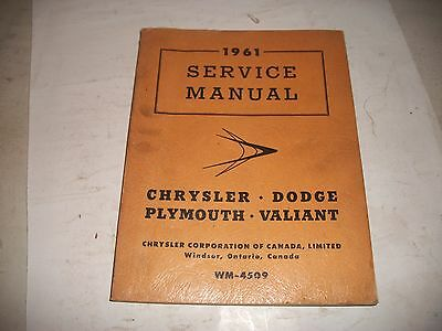 1961 Chrysler Dodge Plymouth Valiant Shop Manual Supplement To 57-58-59 Manual