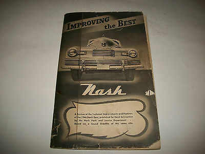 """Rare 1946 Nash """"improving The Best"""" Technical Improvements+Features  Booklet"""