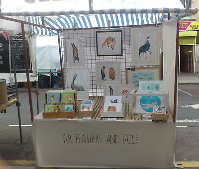 Market stall - table top style including 3 piece grid wall 15 x clips +tarpaulin