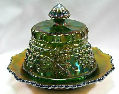 Green Butter Dish in Grape & Cable Antique Northwood Carnival Glass c.1912