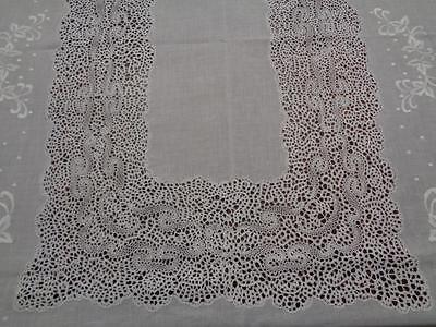 Monumental 12 Ft Italian Cantu Lace & Embroidered Banquet Tablecloth 30 Napkins