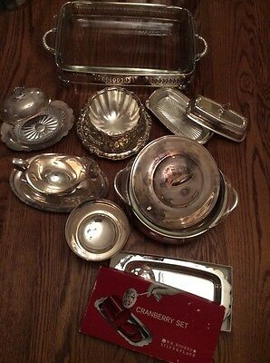 Lot Of 8 Pcs Of Silver Plated Chafing Butter Gravy Boat Cranberry Dishes Pyrex
