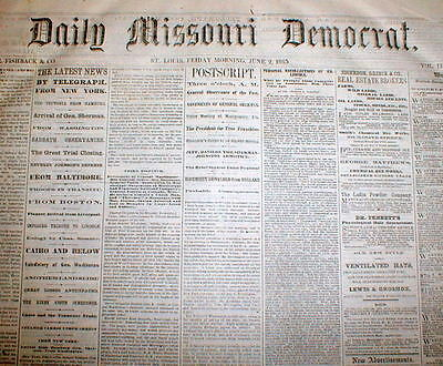 54 1865 Civil War newspapers LINCOLN ASSASSINATION CONSPIRATORS TRIAL & HANGING