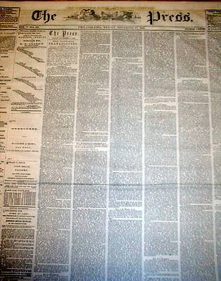 1863 headline newspaper CELEBRATION of the 1st US NATIONAL THANKSGIVING holiday