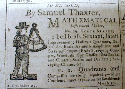 1799 Boston newspaper w ILLUSTRATED AD for a BRASS SEXTANT w woodcut engraving