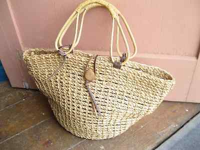 Vintage Woven Straw Wicker Cane Brown Leather Bag Handbag Tote