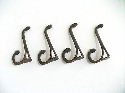 4 - Antique  Double Acorn Top Hooks, Early Hook Steel Hardware USA Copper Color