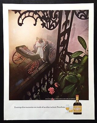 1967 Drambuie couple getting out of carriage 2 glass 1 bottle vintage print ad