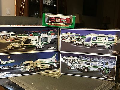 HESS TRUCKS 1998, 1999, 2001, 2004 Lot Of 4 Plus Miniature Fire Truck