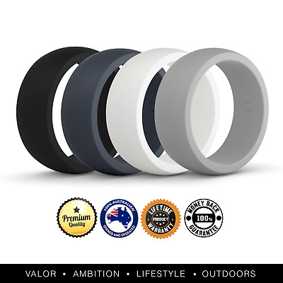 VALO Active Mens 4 Pack Silicone Wedding Rings | Safe Work Sport Gym Bands