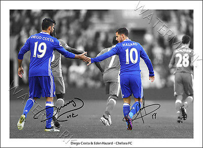Diego Costa Eden Hazard Signed Poster Print Picture Wall Art Chelsea Football