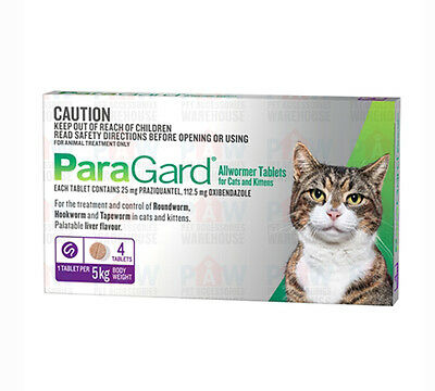 Paragard PURPLE for Cats 5kg Broad Spectrum All Wormer Oral Tablets - 4 PACK