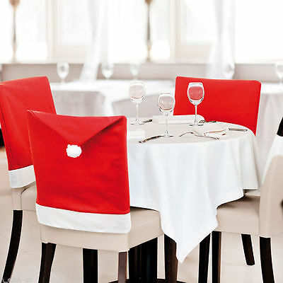 8 Christmas Chair Covers Dinner Table Santa Hat Home Decorations Ornaments Gift