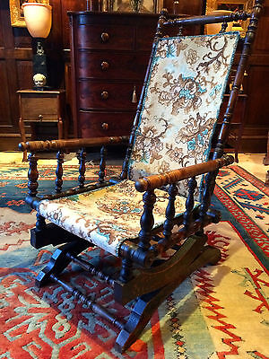 Antique Armchair American Rocking Chair Mahogany 19th Century Victorian