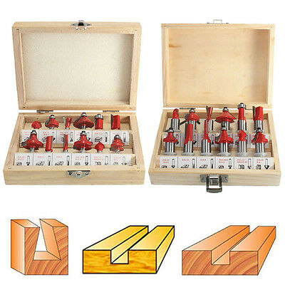 12pcs 1/2'' 1/4'' Shank Router Bits Set Carbide Tipped Woodworking Cutter Tool
