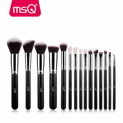 MSQ Professional 15PCs Makeup Brush Set Powder Cosmetic Tool Synthetic Black