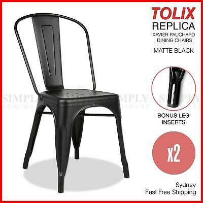 2x Replica Tolix Chairs Xavier Pauchard Dining Steel Industrial Bar Metal Black